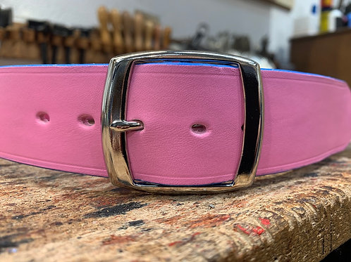 "Handmade English Leather Belt 1 1/2"" Riveted Pink"