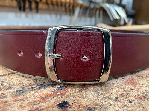 "Handmade English Leather Belt 1 1/2"" Riveted Burgundy"