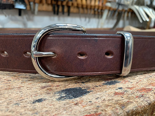 """Handmade English Leather Belt 1 1/2"""" Riveted Brown"""