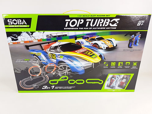 TOP TURBO 1:43 SCALE KIDS ELECTRIC SLOT CAR SCALE ELECTRIC RACING TRACK GAME 3 I