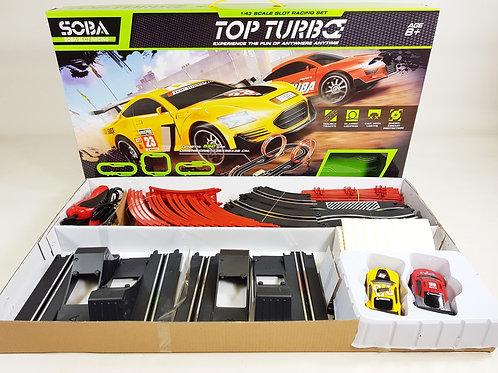 SOBA SLOT CAR RACING TOP TURBO 1:43 SCALE ELECTRIC 3 IN 1 560CM CIRCUIT 2 LOOPS