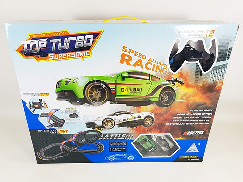 TOP TURBO CHALLENGE RACE TRACK SET WITH TWO SLOT CARS AND TWO SPEED MODES 7.3M T