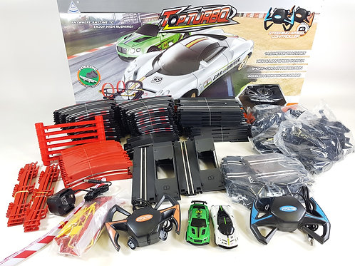 TOP TURBO 1:43 SCALE ELECTRIC REMOTE CONTROL RC SLOT CAR RACE TRACK 14.2 METER L