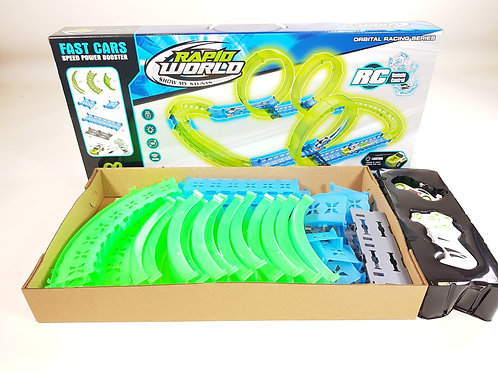 FAST CARS RC GLOW IN THE DARK SLOT CAR RACE TRACK - INFRARED WIRELESS LOOP TRACK