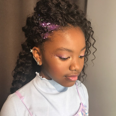 Side half updo with Glitter