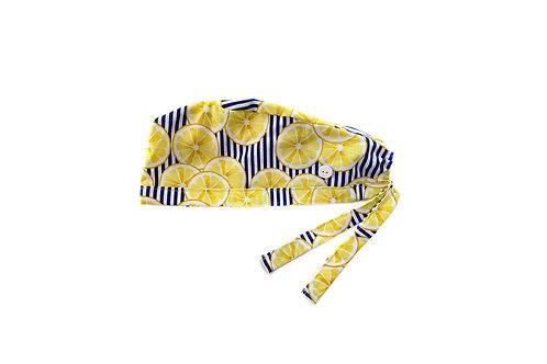 Lemons on Stripes Scrub Cap