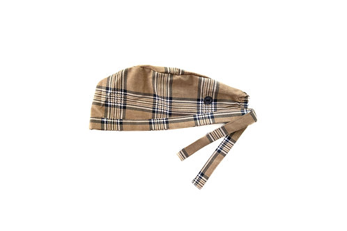 Brown Plaid Scrub Cap