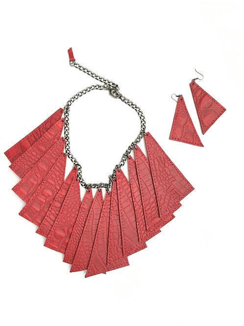Croc Print Leather Necklace Set