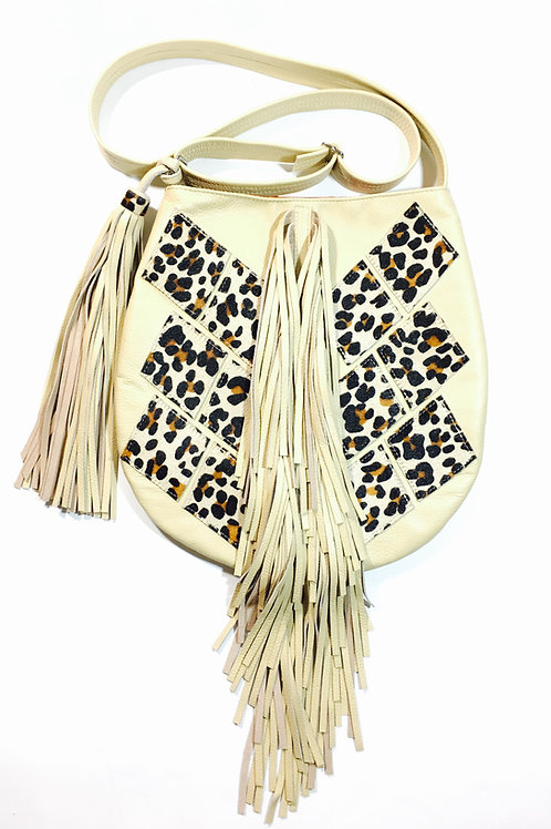 Leopard Fringe Leather Crossbody