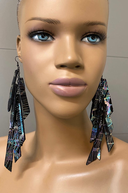 Iridescent Metallic Chandelier Earrings