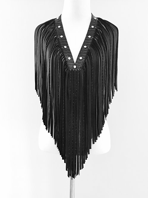 Freda - Leather and Rhinestone Fringe Necklace Handcrafted