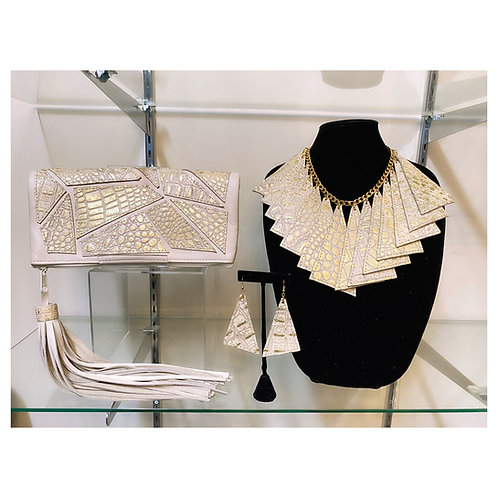 Asymmetric Croc Clutch and Necklace Set