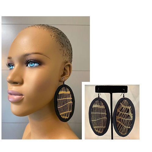 Gold Metallic Oblong Earrings