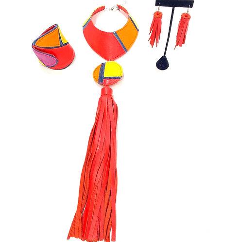 Multi Color Denim Necklace Set