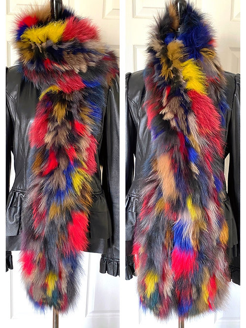 Multi Color Fox Fur Scarf
