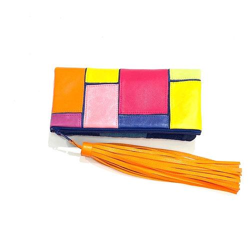 Multi Color Denim Orange Tassel Clutch