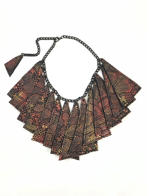Metallic Fire Leather Necklace Set