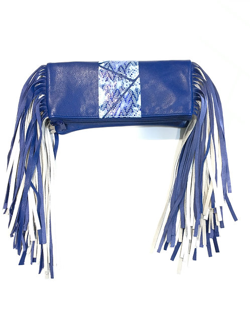 Fringe Foldover Leather Clutch & Necklace Set