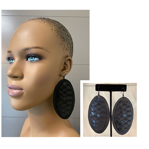 Metallic Black Oblong Earrings