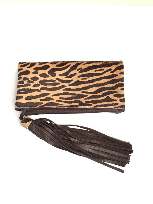 Zebra Hair Foldover Leather Clutch