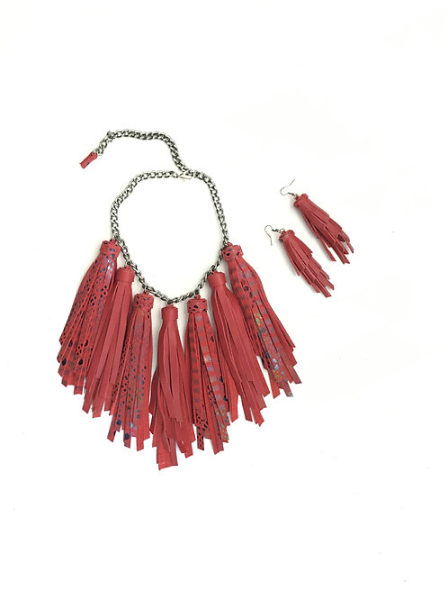 Snake Print Tassel Leather Necklace Set