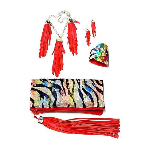 Acid Rainbow Zebra Clutch and Necklace Set