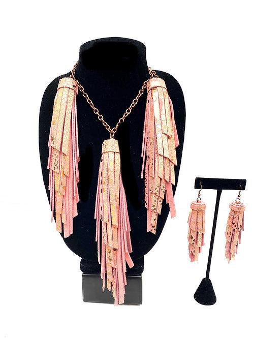 Metallic Rose Gold Tassel Necklace Set