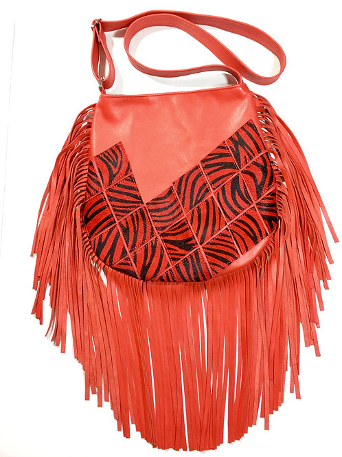 Zebra Fringe Leather Crossbody