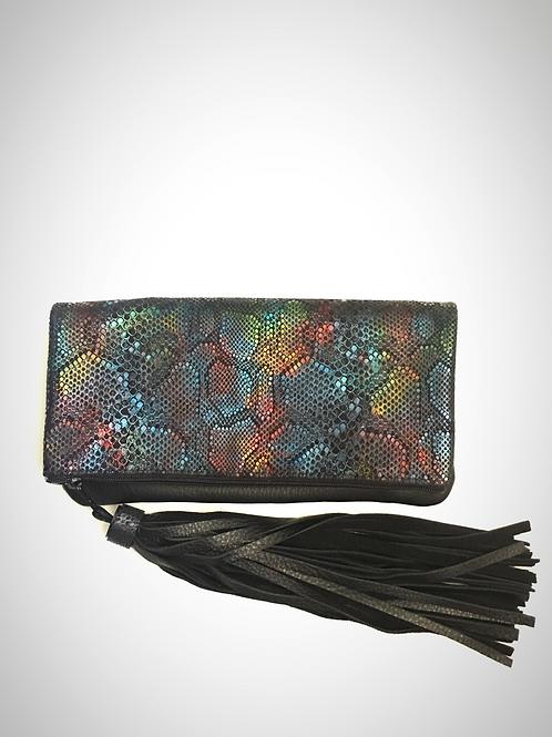 Metallic Rainbow Foldover Leather Clutch