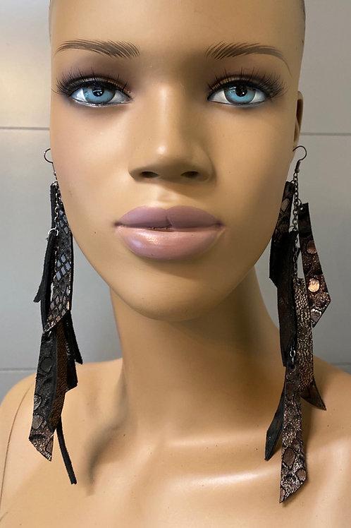 Pewter Bronze Chandelier Earrings