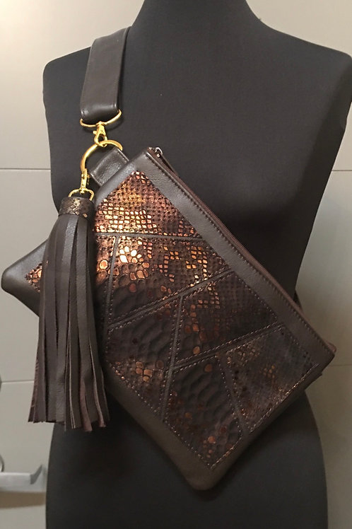 Metallic Choc Gold Bronze Hip/Crossbody Combo