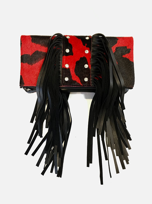 Calico Studded Fringe Clutch Handcrafted