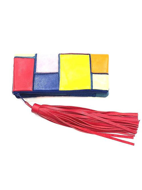 Multi Color Denim Red Tassel Clutch
