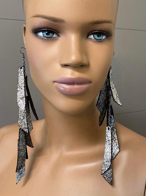 Metallic Silver Chandelier Earrings