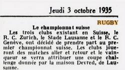 Tribune de Lausanne 3 Octobre 1935
