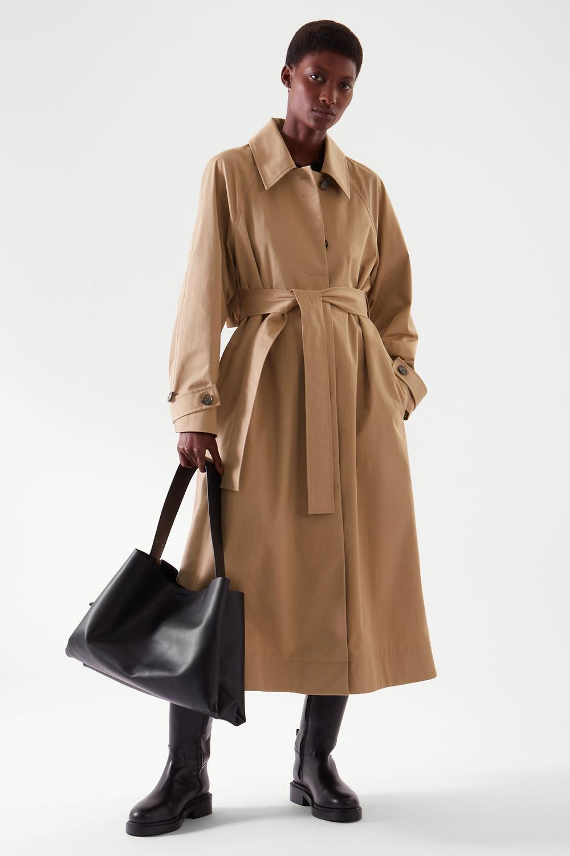 beige oversized trench coat
