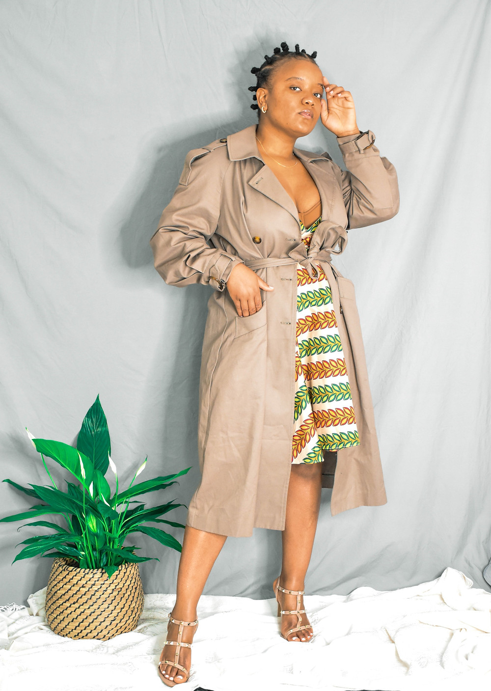 Styling african print dress on a chilly spring or summer day.
