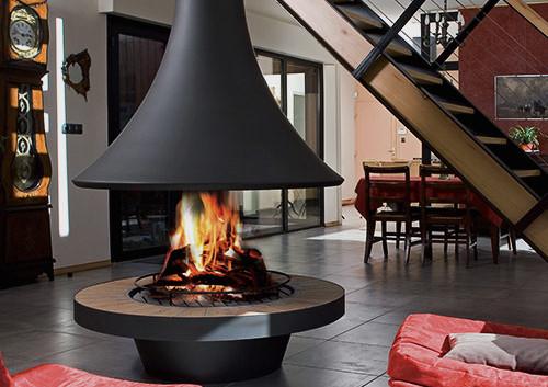 Estufa de leña central con diseño exclusivo