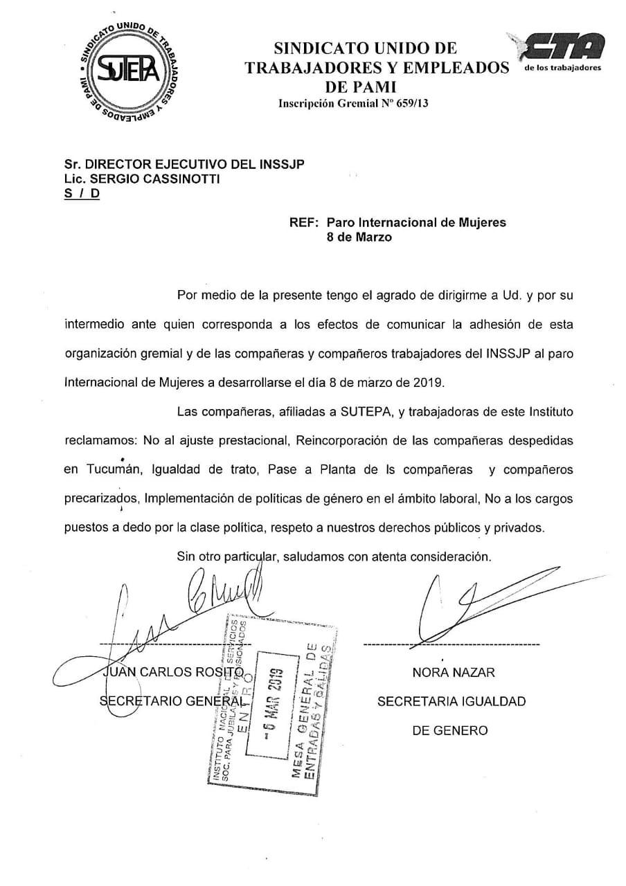 Carta de Sutepa a la dirección de PAMI