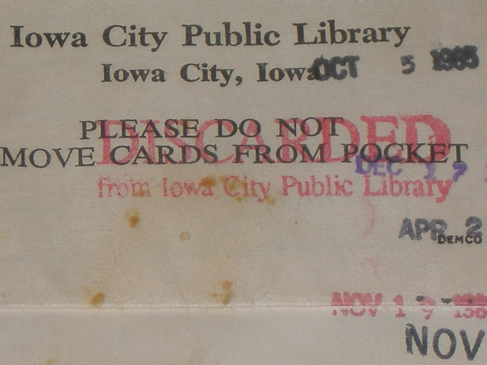Discarded from Iowa City Public Library