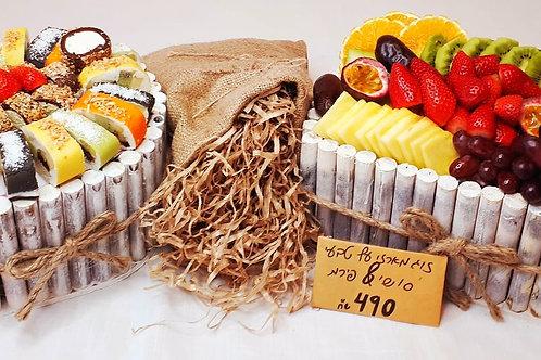 זוג מארזי עץ טבעי סושי & פירות