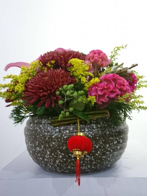 中式金豬禧年花藝創作