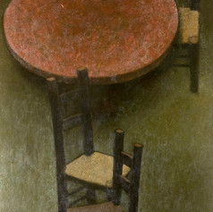 Roderic Barrett, Round Table and Three Chairs