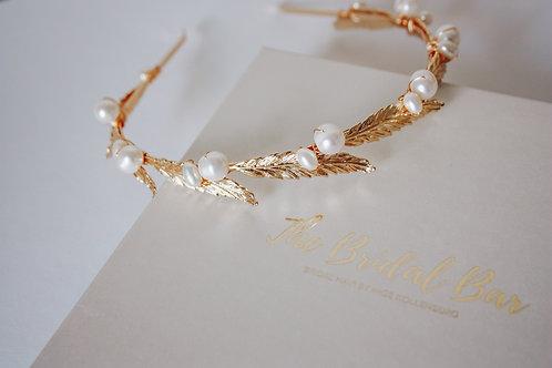 Bridal tiara - Leaves and pearls
