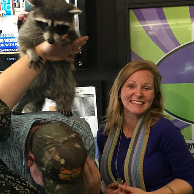 KRBE makin' my dreams come true with a pet raccoon in studio!