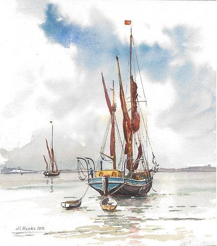 Sailing Barge off Brightlingsea, Essex, 1971