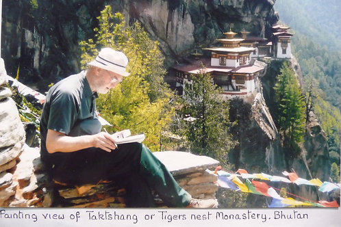 Photograph of me painting the breathtaking sight of Tigers Nest Monastery, 2009