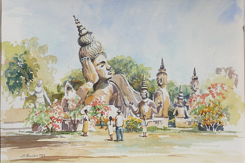 Wat Xieng Khouang Statues near Vientiane, 1999