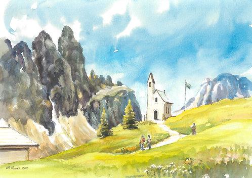 The Cappella Di San Maurizio Church on Grödner Joch Pass, 2010