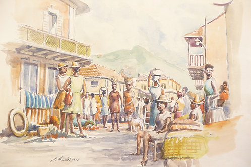 Busy market in Cap-Haitien, 1976